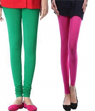 Cotton Pink and Green Color Leggings Combo @ Rs407.00