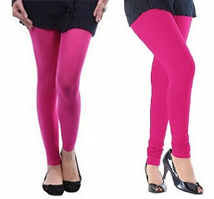 Cotton Pink and Pink Color Leggings Combo @ Rs407.00