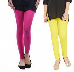 Cotton Pink and Light Yellow Color Leggings Combo @ Rs407.00