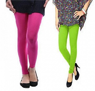 Cotton Pink and Parrot Green Color Leggings Combo@ Rs.407.00