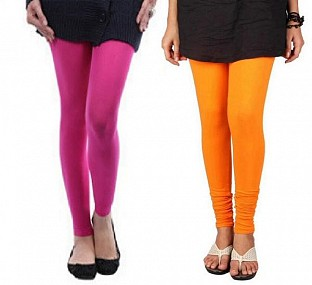 Cotton Pink and Orange Color Leggings Combo @ Rs407.00
