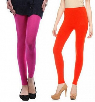 Cotton Pink and Dark Orange Color Leggings Combo @ Rs407.00