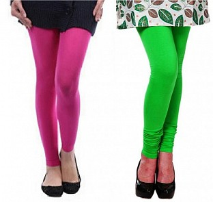 Cotton Pink and Light Green Color Leggings Combo @ Rs407.00