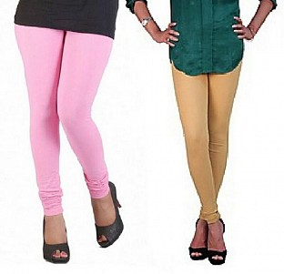 Cotton Light Pink and Biege Color Leggings Combo @ Rs407.00