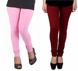 Cotton Light Pink and Brown Color Leggings Combo @ Rs407.00