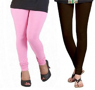 Cotton Light Pink and Dark Brown Color Leggings Combo @ Rs407.00