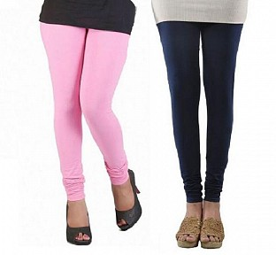 Cotton Light Pink and Dark Blue Color Leggings Combo @ Rs407.00