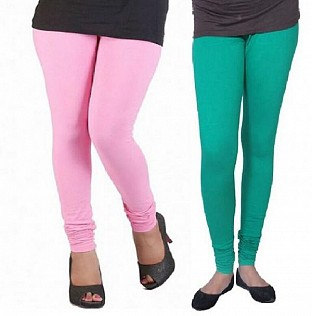 Cotton Light Pink and Rama Green Color Leggings Combo @ Rs407.00