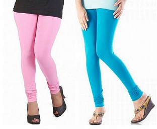 Cotton Light Pink and Sky Blue Color Leggings Combo @ Rs407.00