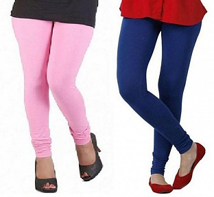 Cotton Light Pink and Royal Blue Color Leggings Combo @ Rs407.00