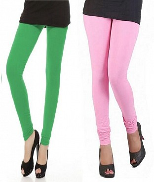 Cotton Light Pink and Green Color Leggings Combo@ Rs.407.00