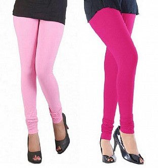 Cotton Light Pink and Pink Color Leggings Combo @ Rs407.00