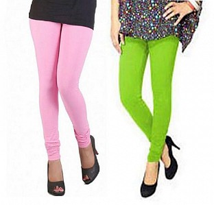 Cotton Light Pink and Parrot Green Color Leggings Combo@ Rs.407.00