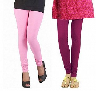 Cotton Light Pink and Drak Pink Color Leggings Combo @ Rs407.00