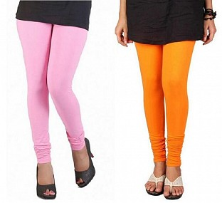 Cotton Light Pink and Orange Color Leggings Combo @ Rs407.00
