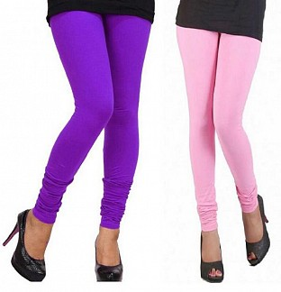 Cotton Light Pink and Purple Color Leggings Combo @ Rs407.00