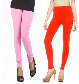 Cotton Light Pink and Dark Orange Color Leggings Combo @ Rs407.00