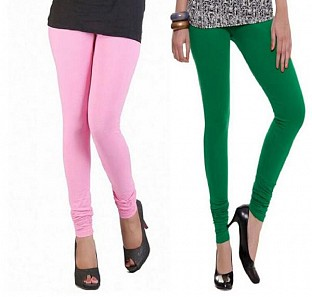 Cotton Light Pink and Dark Green Color Leggings Combo@ Rs.407.00