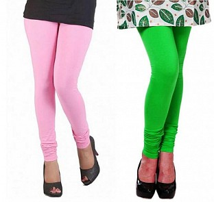 Cotton Light Pink and Light Green Color Leggings Combo @ Rs407.00