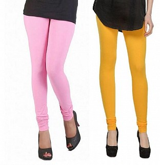 Cotton Light Pink and Yellow Color Leggings Combo @ Rs407.00