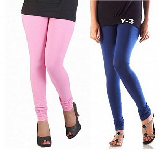 Cotton Light Pink and Blue Color Leggings Combo @ Rs407.00