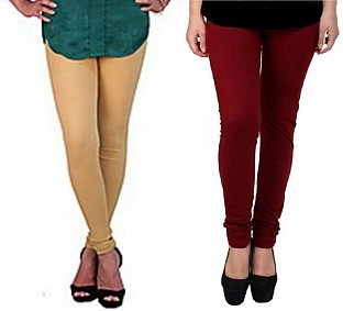 Cotton Biege and Brown Color Leggings Combo @ Rs407.00