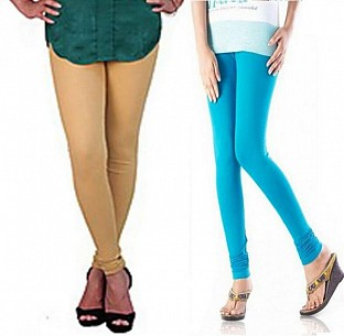 Cotton Biege and Sky Blue Color Leggings Combo @ Rs407.00