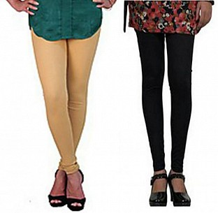 Cotton Biege and Black Color Leggings Combo @ Rs407.00