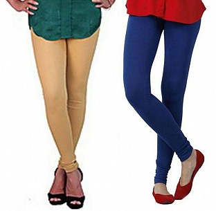 Cotton Biege and Royal Blue Color Leggings Combo @ Rs407.00