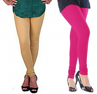 Cotton Biege and Pink Color Leggings Combo@ Rs.407.00