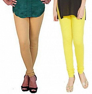 Cotton Biege and Light Yellow Color Leggings Combo @ Rs407.00