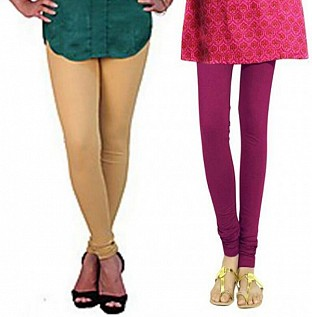 Cotton Biege and Dark Pink Color Leggings Combo @ Rs407.00