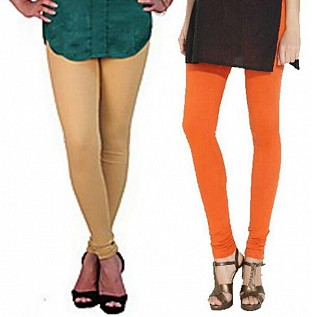 Cotton Biege and Orange Color Leggings Combo @ Rs407.00