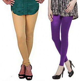 Cotton Biege and Purple Color Leggings Combo @ Rs407.00
