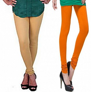 Cotton Biege and Dark Orange Color Leggings Combo @ Rs407.00