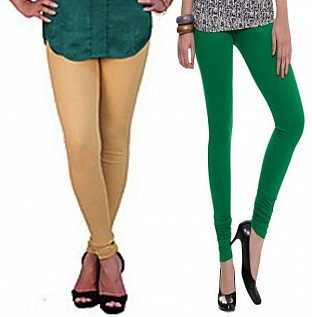 Cotton Biege and Dark Green Color Leggings Combo @ Rs407.00