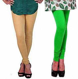 Cotton Biege and Light Green Color Leggings Combo@ Rs.407.00
