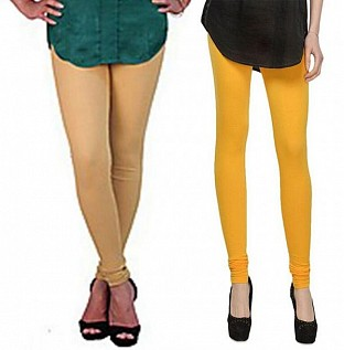 Cotton Biege and Yellow Color Leggings Combo@ Rs.407.00