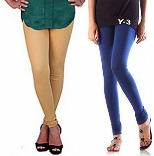 Cotton Biege and Blue Color Leggings Combo Buy Rs.407.00