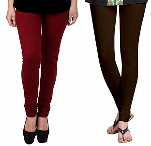 Cotton Brown and Dark Brown Color Leggings Combo @ Rs407.00