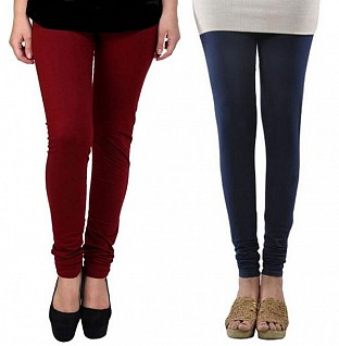Cotton Brown and Dark Blue Color Leggings Combo @ Rs407.00