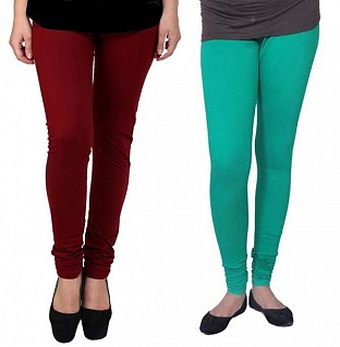 Cotton Brown and Rama Green Color Leggings Combo @ Rs407.00