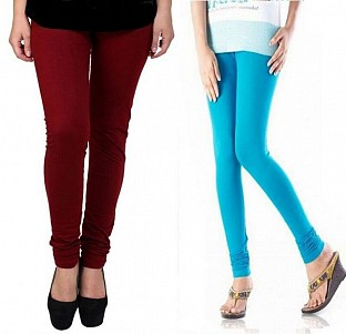 Cotton Brown and Sky Blue Color Leggings Combo @ Rs407.00