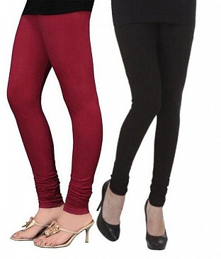 Cotton Brown and Black Color Leggings Combo@ Rs.407.00