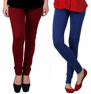 Cotton Brown and Royal Blue Color Leggings Combo@ Rs.407.00