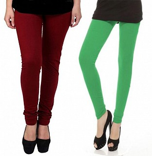 Cotton Brown and Green Color Leggings Combo@ Rs.407.00