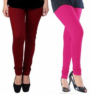 Cotton Brown and Pink Color Leggings Combo @ Rs407.00