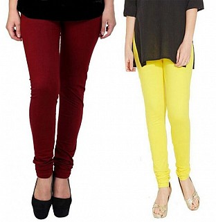 Cotton Brown and Light Yellow Color Leggings Combo@ Rs.407.00