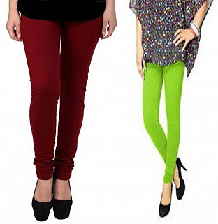 Cotton Brown and Parrot Green Color Leggings Combo@ Rs.407.00