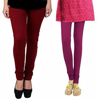 Cotton Brown and Dark Pink Color Leggings Combo @ Rs407.00